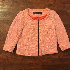 Zara Coral Tweed Boucle Zipper Jacket size Medium